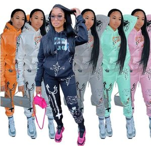 Women Tracksuit 2 Piece Set Designers Clothes Letters Printed Long Sleeve Hooded Pullover Trousers Ladies Street Sports Suit 1131 BANN
