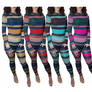 Women Jumpsuits Slim Sexy Colorful Stripes Onesies Long Sleeve Pants Ladies New Fashion Casual Printed Tight Rompers 1F2P