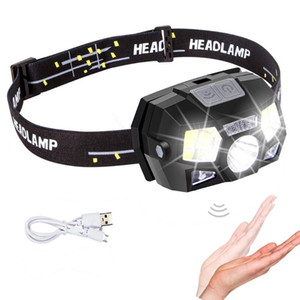 2020 Motion Sensor Waterproof Headlamp COB+Q5 LED Rechargeable Headlight Torch For Outdoor Camping Night Fishing Lamp Light