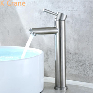 Basin Vessel Sink Faucet Bathroom Hot Cold Water Mixer Tap Modern Stainless Steel Brushed Grifo Deck Mount Single Handle Faucets