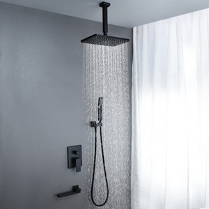 2020 New Design Black Shower Faucet 3 Way Water Flow Hot Cold Mixer Panel Brass Spout Tap 250*400mm Stainless Steel Ceiling Shower Head Rain