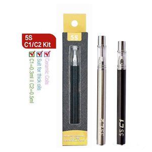 Disposable Pen Oil Atomizer Refilling Vape Pens 0.3ML 0.5ML Glass Tanks 5S C1 C2 320mAh Battery Vaporizer Pen Electronic Cigarettes puff bar