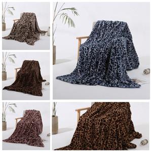 Blankets Winter Warm Blanket Pink Brown Khaki Leopard Printing plush baby women Blanket Chair Sofa Home Decor YHM56-1
