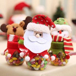 Рождественская конфетная банка Новая прекрасная круглая ткань кукла Candy Jar Santa Snowman LELK BOX1