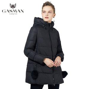 Gazman Marka Kalın Kış kadın Kapşonlu Kadın Sıcak Parkas Siyah Ceket 2021 Kadın Moda Kürk Topu Aşağı Ceket 18833