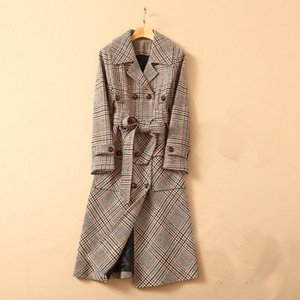 2020 autumn winter new luxury design retro plaid double-breasted mid-length trench coat super classic all-match plaid jacket free shipping