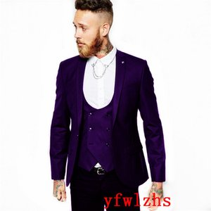 Handsome One Button Groomsmen Peak Lapel Groom Tuxedos Men Suits Wedding Prom Dinner Best Man Blazer(Jacket+Pants+Tie+Vest) W652