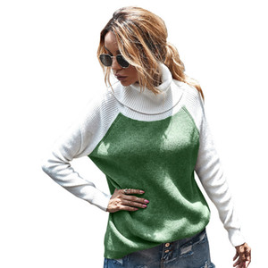 Turtle Neck Sweater Womens Designer Loose Pullover Contrast Color Knits Autumn Winter Fashion Casual Women Sweaters