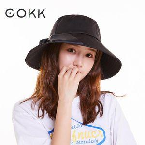 Cokk Summer Hats For Women Lady Big Wide Brim Bucket Hat With Ribbon Sun Hat Female Solid Color Casual Black Panama Swy sqcXnr
