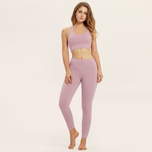 ZC-19 Seamless Yoga Set Women Fitness Clothing Sportswear Woman Gym Leggings Padded Push-up Strappy Sports Bra 2 Pcs Sports Suits