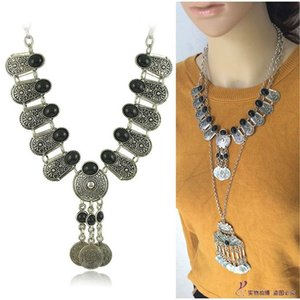 Retro Style Ancient Coin Tassel Gem Short Necklace Sweater Chain Retro Ethnic Style Hanging Chain Accessories HD