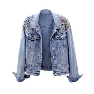 Denim jackets female short retention 2020 spring new wild beaded embroidery slim jacket long-sleeved shirt denim women's