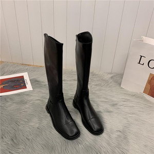 2020 News Knee High Boots Woman Square Toe Shoes Woman Platform Botas Mujer Zipper Zapatos De Mujer Chunky Heels Martin Boots