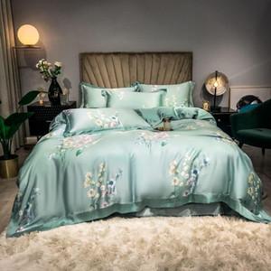 Bedding Sets Light Green,Pink Floral Blossom Duvet Cover Set Ultra Soft Tencel Summer Flat Sheet Pillowcases Queen King Size 4pcs