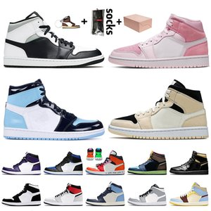 Stock x Nike Air Jordan 1 1s OFF White Jordan Retro 1 New Top Quality Com Box Mens Womens Jumpman Basquete sapatos de alta OG Bio Corte Smoke Light Gray Destemido