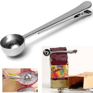 Cucchiai multi-funzionali durevole in acciaio inox cucchiaio del cucchiaio del cucchiaio del cucchiaio di misura del cucchiaio del fondo con la clip di tenuta della borsa Strumenti di misurazione FWB3491