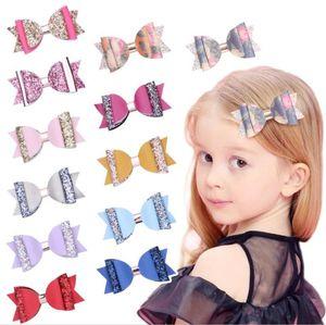 4inch Double Layer Glitter Hair Bows Bowknot Girls Hairpins Party Hair Clips barrettes Princess Accessories Headwear J37