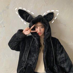 Cute Bunny Warm Women Long Sleeve Sweet Kawaii Rabbit Jacket Hooded Female Autumn Winter Loose Casual Sweatshirt Coat