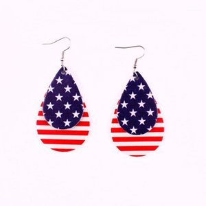 Independence Day American Flag US Stars and Stripes PU Leather Round Leaf Teardrop Dangle Drop Earrings for Women Jewelry1