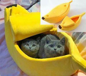 Warm Pet Dog Cat Bed Nest Banana Peel Shape Warm Plush Fleece Fluffy Home Bed Cute bbyPLX yh_pack