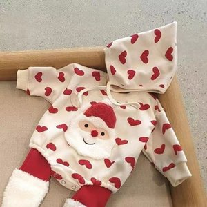 Baby Romper with Hat Newborn Boys Bottom Pantyhose New Infant Girl Winter Christmas Clothes Long Sleeve One Piece Jumpsuit J1203