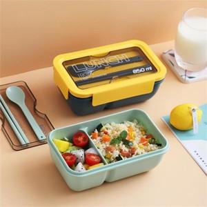Vieruodis tragbare Plastik-Lunchbox mit Löffel japanische Stilfach Bento-Box Küche Mikrowelle dicht dicht Lebensmittelbehälter 201210