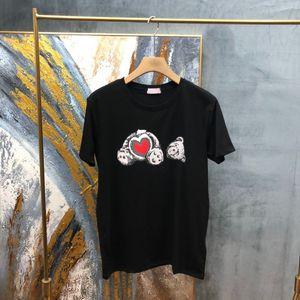 2021 Europa Primavera Verão Itália Urso Cabeça Cópia Amor Coração Algodão Tee Skate Homens Camiseta Mulheres Casuais Tshirt