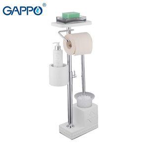Gappo Hardware Hardware Gapo White Free Free Stands الحمام حاملي فرشاة المرحاض مع حاملات ورق ورق التواليت الجرف LJ201209