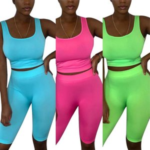 Women Sports Sleeveless Yoga Set Summer Casual Sexy Vest + Shorts Two Piece Set Fitness Workout Tracksuits