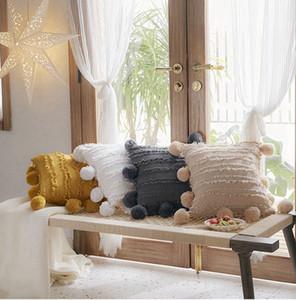 Koltuk Çiçek Püsküller Pompoma ile Yastık Kapak Sarı Gri Beyaz Dekoratif Yastık Örtüsü Ev Dekor Atmak Yastık Kılıfı 45x45 cm CCA2677