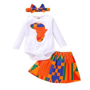Baby Girls юбки костюмы Африка мультфильм карта напечатанные Rompers Baby Onesies Eysaster Splice юбки детские наряды младенцев малыш одежда 061207