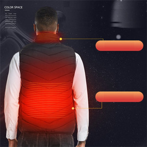 UNISEX USB 충전식 자체 난방 패딩 코트 양복 조끼 겨울 민소매 재킷 조끼 짜여진 퀼트 복어 재킷 스포츠 outwear 상위 F120202