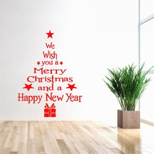 New Merry Christmas Window Wall Stickers Waterproof Posters Decals Blessing Happy New Year Christmas Tree Stars Gifts Home Decor