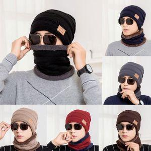 Unisex Warm Winter Hat Fashion Winter Outdoor KnitteHat+Scarf Set Warm Plus Plush Lining Hat For Men & Women