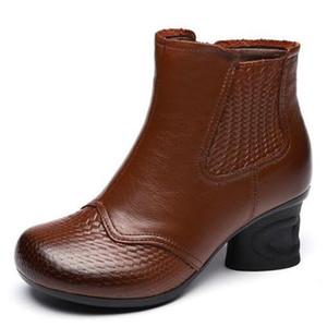 Çizmeler 2021 ünlü sonbahar retro tarzı hakiki deri kadın ayakkabı yüksek topuklu sıcak kış kadın ayak bileği