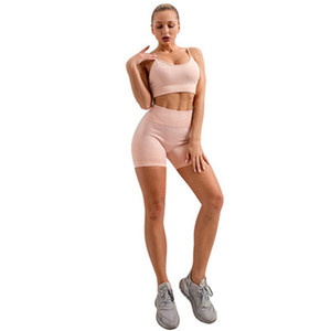 Womens Bra Tracksuits Solid Color Quick-drying Yoga Tanks Top and Skinny Shorts Fashion Causal Biker Running Fitness Two Piece Set for Women