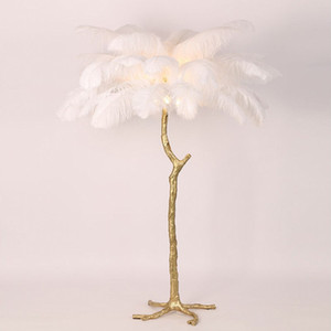 1.7M Height Ostrich Feather Floor Lamp LED Chrismas Tree Wedding Road Leads Bedroom Decors Light Living Room Party Decoration