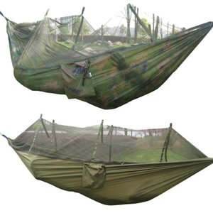 Portable Travel Camping Outdoor Hammock Hanging Nylon Bed + Mosquito Net Portable Camping Parachute Hammock Survival Garden