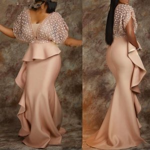 Dubai Arabo African African African Prom Dresses Deep V Neck Satin Dress Dress Dress Cocktail Party Sweep Treno Abito formale Vestito da sera Indossare Ostuff