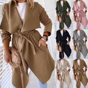 2020 Fast Sell Through Autumn and Winter New Style Pure Color Long Windbreaker Casual Long Sleeve Coat Female Y-670