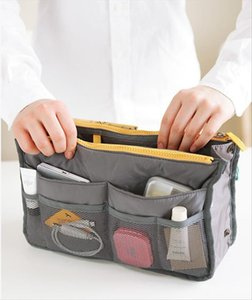 Women comestic Organizer Bag In Bag Double Zipper Portable Multifunctional Travel Pockets Handbag Makeup
