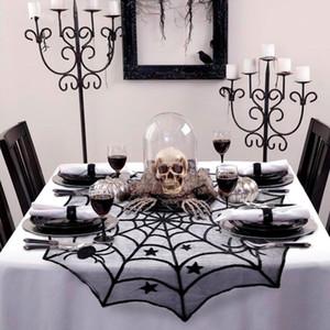 Halloween festa preta laço de laço web tabela pano 100 cm tabela cobre janela pendurado horror halloween festa decoração