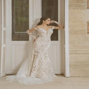 Sexy Illusion Mermaid Wedding Dresses Appliqued Lace Long Sleeves Bridal Gowns Tulle Appliqued Custom Made Sweep Train Vestidos De Novia