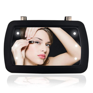 Car Sun Visor Mirror with LED Lights Makeup Sun-Shading Cosmetic Clip on Vanity Automobile Make Up with Touch Screen
