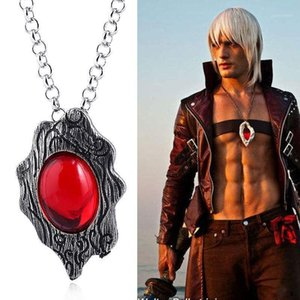 Cosplay Jewlery Pendant Necklace DMC Dante Cosplay Accessory Chain Necklace Red Stone Pendant Alloy1