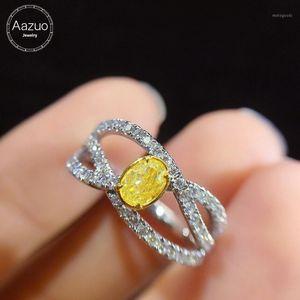 Aazuo real ellips amarelo diamante branco diamante 18k linha ouro anel upscale na moda festa sênior personalizar joias finas1