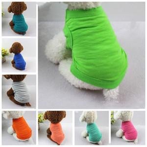PET T SHIRTS VERANO Ropa de perro sólido Moda Top camisas Chaleco de algodón Ropa de algodón Perrito Pequeño Pequeño Perro Ropa de perro Barato Ropa para mascotas YHM212