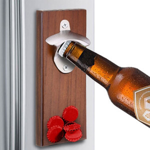 Magnet Bottle Opener Wall Mounted Rustic House Decor Can Wooden Opener Beer Magnet Kitchen Tools Bar Accessories Party Gifts 201201