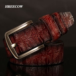 Hreecow Designer Gürtel Männer Hohe Qualität Männchen Gürtel Echtes Lederband Etikett Berühmte Spezialisierung Krokodil Pin Schnalle Ceinture Homme