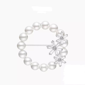 Fashion Women Large Brooches Lady Snowflake Natural Pearls Rhinestones Crystal Wedding Brooch Pin Hairpin Jewelry 925 Sterling Silver Zircon